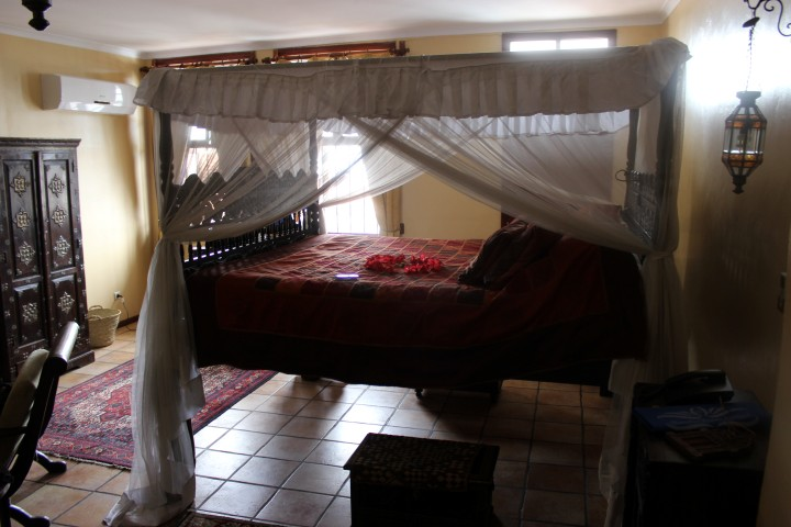 The bed is really high up! Has an Arabian feel to it.